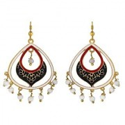 Spargz Oval Shape Gold Plated Officewear Multicolor Meenakari Hook Earrings For Women AIER 1073