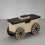 Kids Wooden Riding Toy, Ride On Train - South Bend Woodworks Express Natural/Black Freight Car