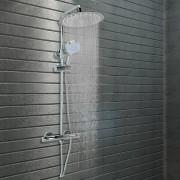 vidaXL rozsdamentes acél dupla fejű zuhanyszett termosztáttal