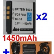 Chargeur + 2 batteries Pour FUJI NP-50 NP50, KODAK KLIC-7004 KLIC7004, Easyshare V1003
