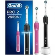 Комплект 2 броя електрически четки за зъби Oral-B Pro 2 2950N, Розова и Черна, 2 режима на четкане