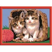 Раскрашивание по номерам «Котята в корзине»