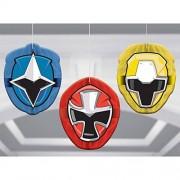 amscan Power Rangers Ninja SteelTM Decoración de panal de abeja, 18 unidades