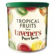 Taveners Tropical Fruit Drops 3 x 200g Retro Gift Travel Tins Sweets