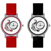 KAJARU Peacock Red And Black Colour Round Dial Analog Watches Combo For Girls And Women