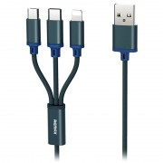 Remax Gition 3-in-1 USB Cable - Lightning, Type-C, MicroUSB - Blue