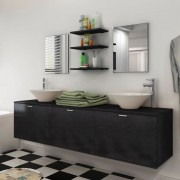 vidaXL Set mobilier baie 10 piese cu chiuvete și robinete incluse, Negru
