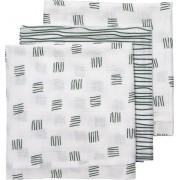Meyco 3-pack luiers Block stripe - forest green