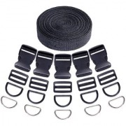 DIY Crafts 41Pcs 3/2 Inch DIY Making Bag Kit Including Flat Side Release Buckles and Tri-Glide Slides and D Rings with 1 Roll 5 Yards Nylon Webbing Straps for DIY Making Luggage Strap Pet Collar
