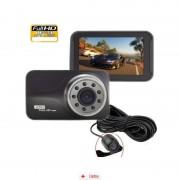 Camera Auto Full HD SMT639 cu camera marsarier + Tripla Auto USB, Card MicroSD 32GB
