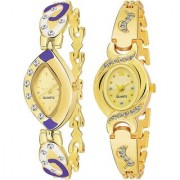 Aks More Purple With Aks Round Dile Diamound Designing Stylist looking Analog Gold Watch For Women Girls Pack OF 2