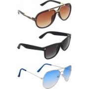 Zyaden Aviator, Wayfarer, Rectangular Sunglasses(Brown, Blue, Black)