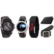 Jack Klein Combo of Round Dial Black Strap Stylish Digital And Analog Wrist Watches With Belt And Wallet