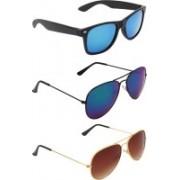 Zyaden Wayfarer, Aviator, Aviator Sunglasses(Blue, Blue, Brown)