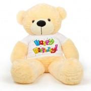 Peach 5 feet Big Teddy Bear wearing a Colorful Happy Birthday T-shirt
