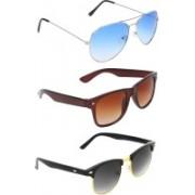 Abner Aviator, Wayfarer, Clubmaster Sunglasses(Blue, Brown, Black)