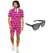 Palmbomen zomer heren kostuum / pak - maat 46 (S) met gratis zonnebril