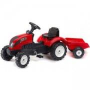 Детски трактор с педали и ремарке Falk Garden, червен, 302050