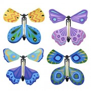 Bombom Tree 4 Pcs Magic Flying Butterfly Flies from Cards Letters Books Gifts and Flowers, Wind up Butterfly Toy Great Surprise Wedding Birthday Gift