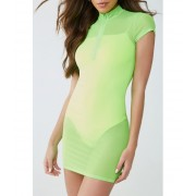Forever21 Sheer Zip-Front Mini Dress NEON GREEN