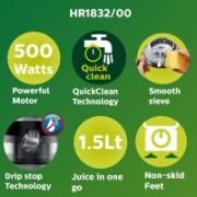 Philips HR1832/00 500 W Juicer(Ink Black, 1 Jar)
