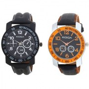 RIDIQA Black Strap White Dail Combo Watches for men's combo RD-112-118
