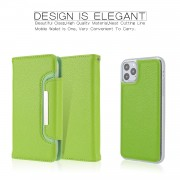 Litchi Texture Detachable Leather Wallet Cover Phone Case for iPhone 11 Pro Max 6.5 inch - Green