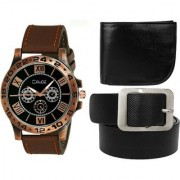 Crude Combo of Analog Black Dial Watch-rg737 With Black Leather wallet