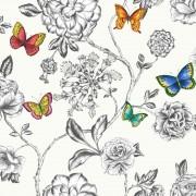 Tapet fluturi si flori pe fundal alb Keilena - Holden