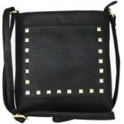 AANIA HAUTE Women Black Leatherette, Cotton Sling Bag
