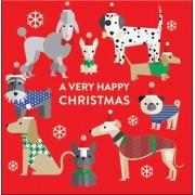 adventskalender met envelop - honden met kerstmutsen