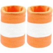 Neska Moda Unisex Orange And White Cotton Wrist Band WB04