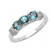 Inel argint, topaz londonez si diamante albe