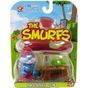 Smurfs 2 Inch Articulated Mini Figure Papa Smurf With Lab Accessory