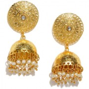 RUBANS Gold Color Circular Jhumkas