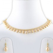 Silver Shine Gold Plated Royal Chain Style Multi Golden Pearl Drop Designer Party Wear Necklace Set With Earrings For Girls And Women Jewellery