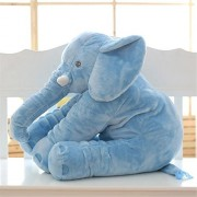 "Mynse 15.7""/40cm Simulation Animals Toys Plush Elephant Pillows for Children Toys Comfort Pillow Stuffed Elephant Doll Blue"