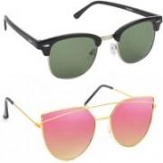 Elgator Over-sized Sunglasses(Green, Pink)