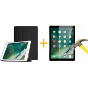 Apple iPad Mini 1 / 2 / 3 - Luxe Zwart Leer Hoesje Smart Cover + Screenprotector / Screen protector - Book Case Retro (Flip Cover) (Zwarte Leren)