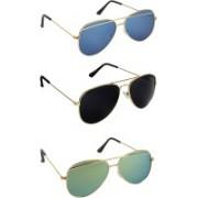Pogo Fashion Club Cat-eye, Aviator Sunglasses(Black, Blue, Green, Golden, Multicolor)