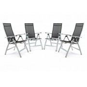 Sada 4 ks luxusných hliníkových extra širokých polohovateľných stoličiek