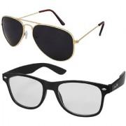 Silver Kartz Combo of 2 Wayfarer Unisex Sunglasses(scm32//Black//Clear)