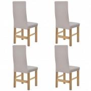 vidaXL Разтегателен калъф за стол, 4 бр, бежов, полиестерен рипс