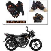 AutoStark Gloves KTM Bike Riding Gloves Orange and Black Riding Gloves Free Size For Honda CB ShineSP