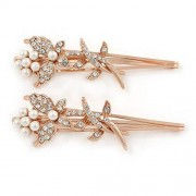 Avalaya 2 Bridal/ Prom Clear Crystal, White Glass Pearl Butterfly Hair Grips/ Slides In Rose Gold Metal 70mm L