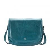 Klassische Leder Umhängetasche in Petrol - Aktentasche, Dokumententasche, Schultertasche