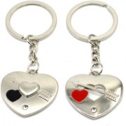 Faynci Two PC Twin Heart with Love Band Arrow Couple Key Chain for Gifting Valentine Day/Birthday/Friendship Day
