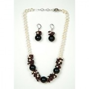Just Women Genuine Garnet and Shell Pearl Necklace with Earpiece