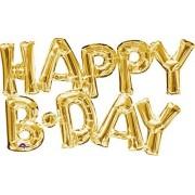 Burton Globo de plástico metalizado de 76 cm x 48 cm, de color dorado, perfecto para decorar una fiesta de cumpleaños