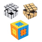 Vortex Toys Magic Rubik Gold & Silver Mirror and 4x4 Stickerless Cube Combo Puzzle Cube Brainstorming Game Toy (2 Pieces)